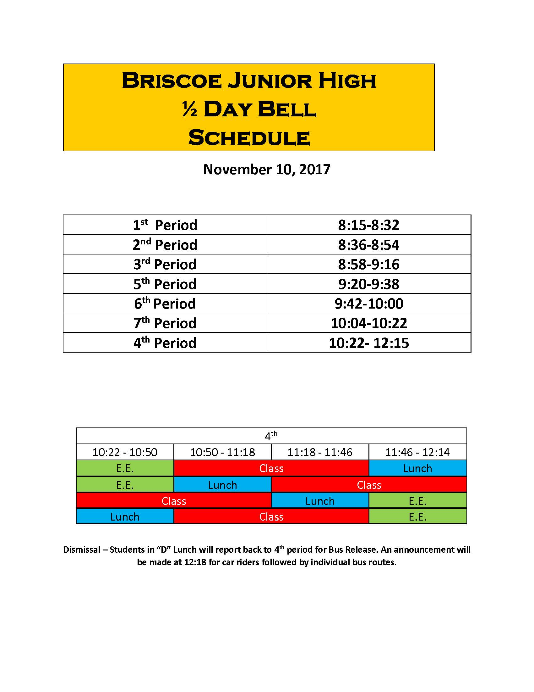 Early Release Briscoe Bell Schedule 17-18