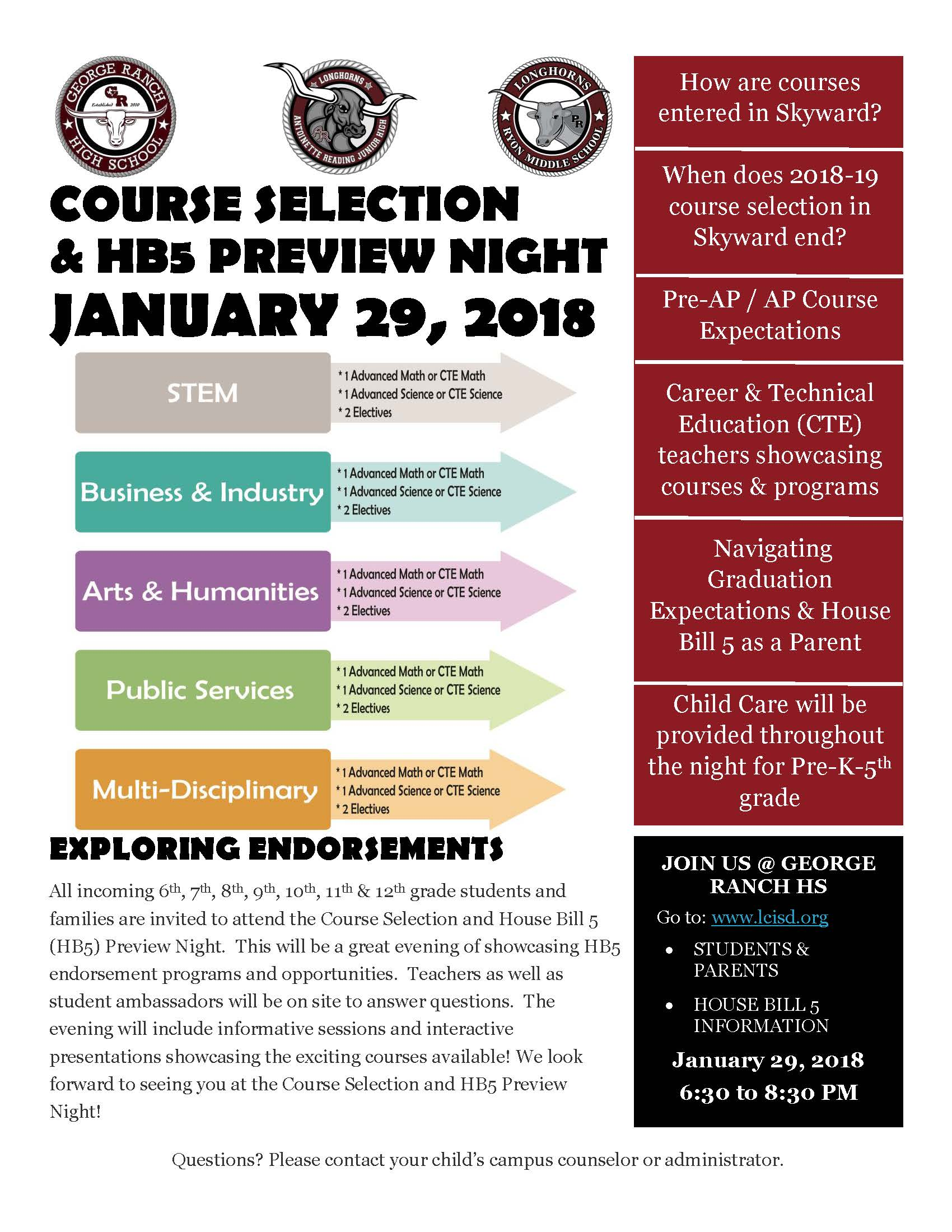 2018 HB5 Course Selection Preview Night Flyer