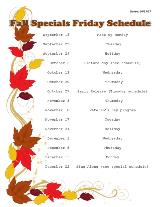 Fall Specials Friday Schedule 2017