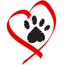 heart with paw print in middle