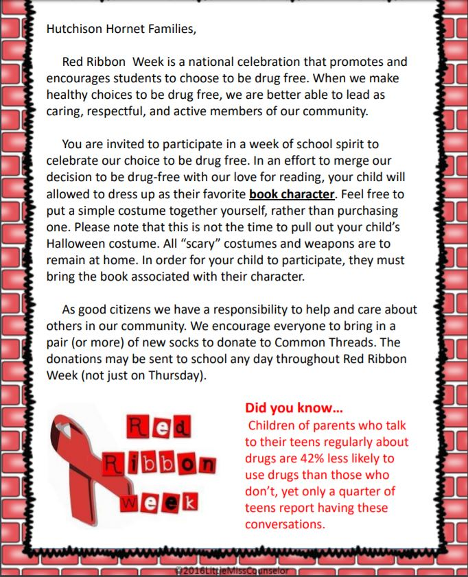 Red Ribbon Week letter