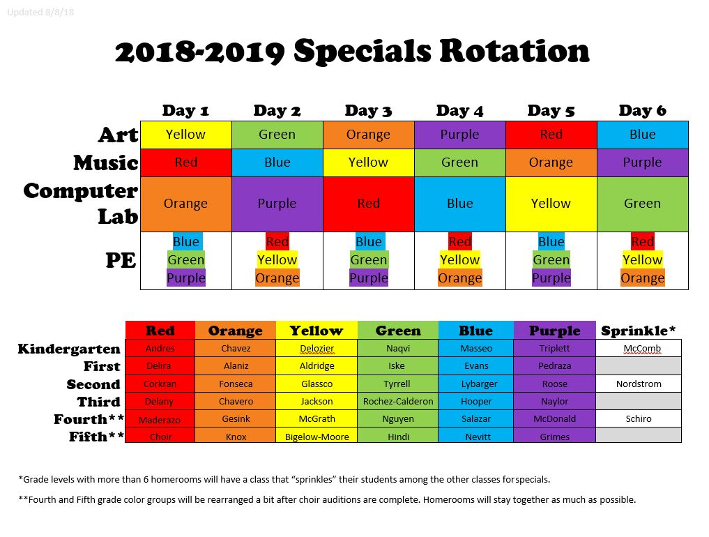 Special Schedule Color 18-19