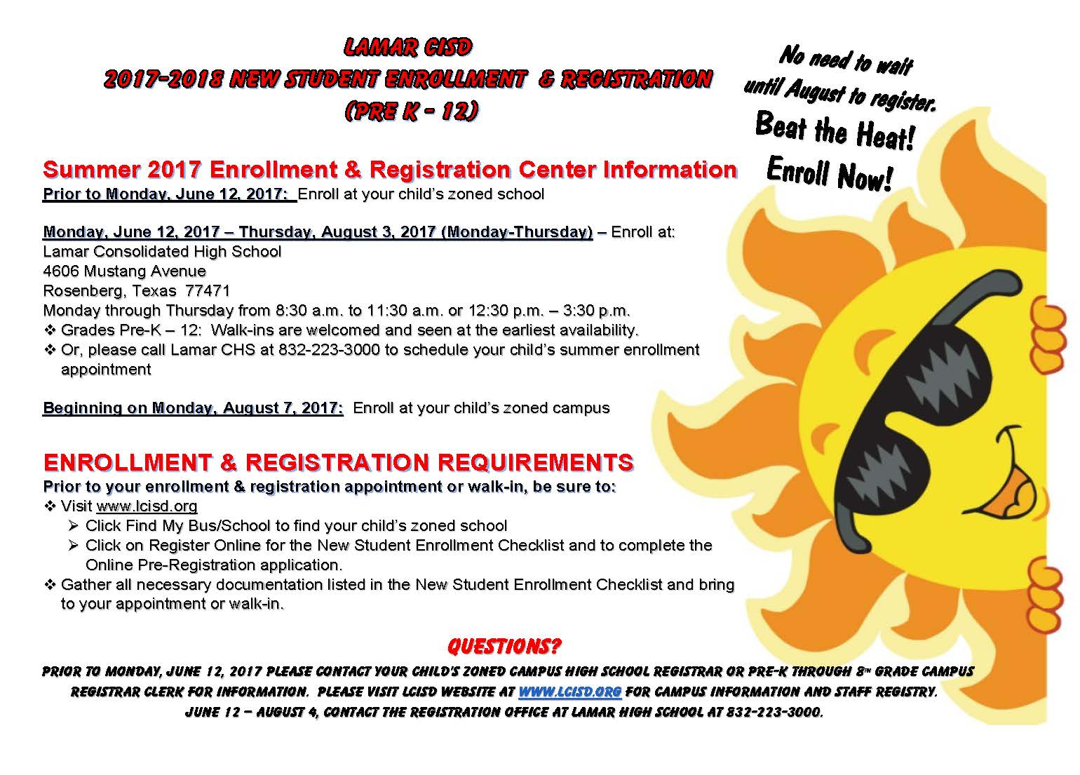Summer 2017 New Student Enrollment  Registration Flyer 3-1-17
