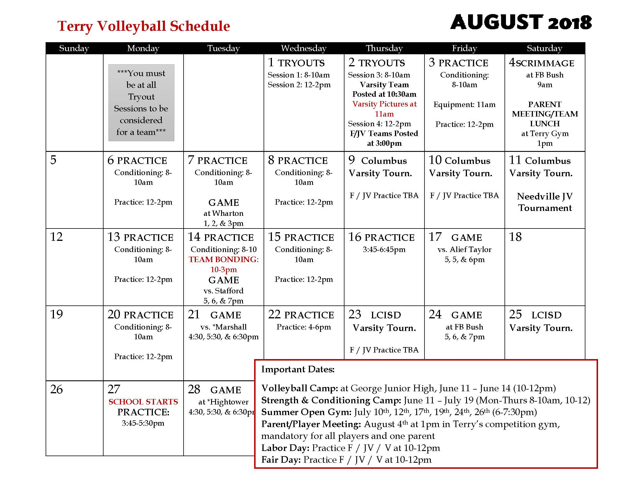 Summer August 2018 Terry Volleyball Calendar