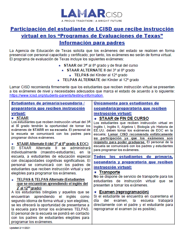Virtual Student Participation in the Texas Assessment Program-- Spanish