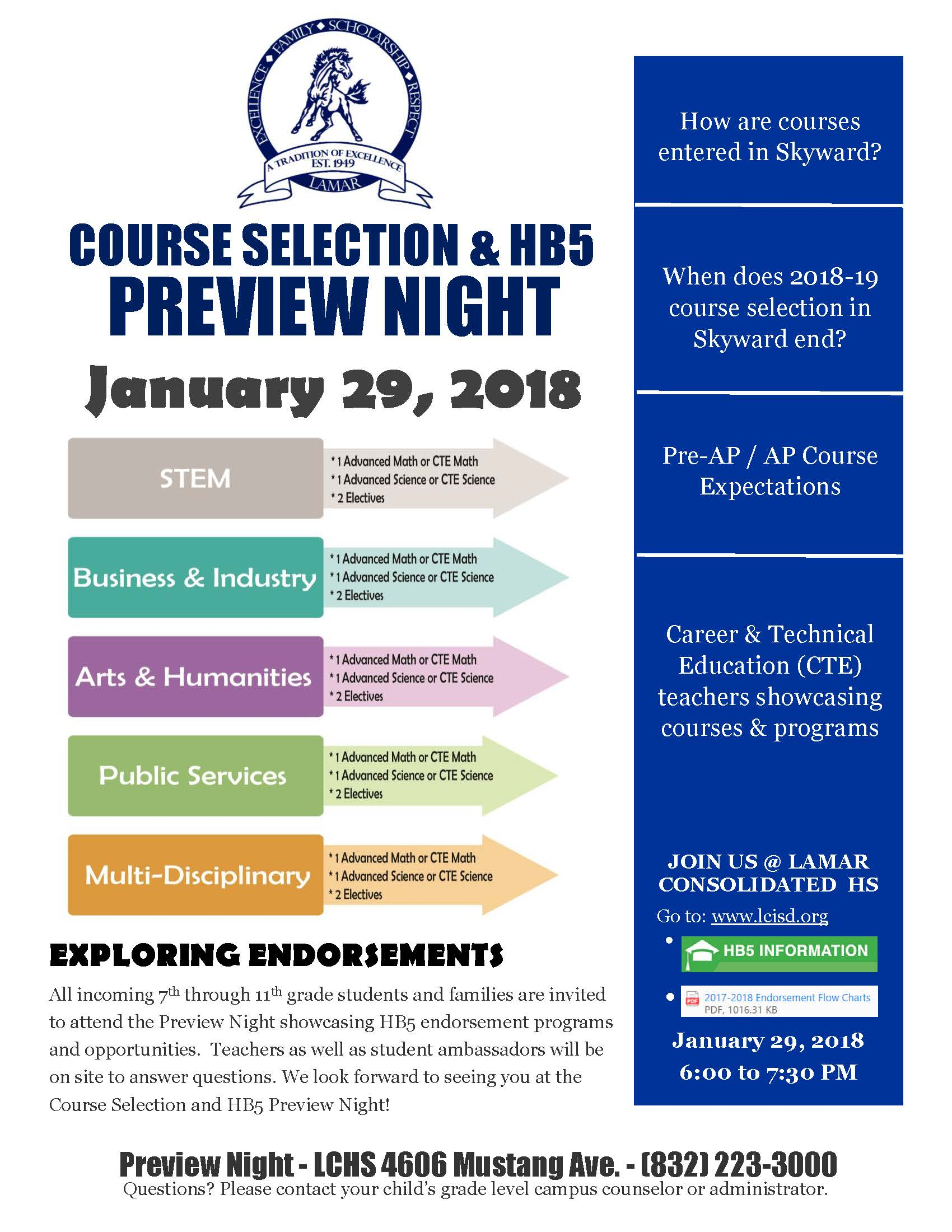 HB5 Course Selection Preview Night Flyer