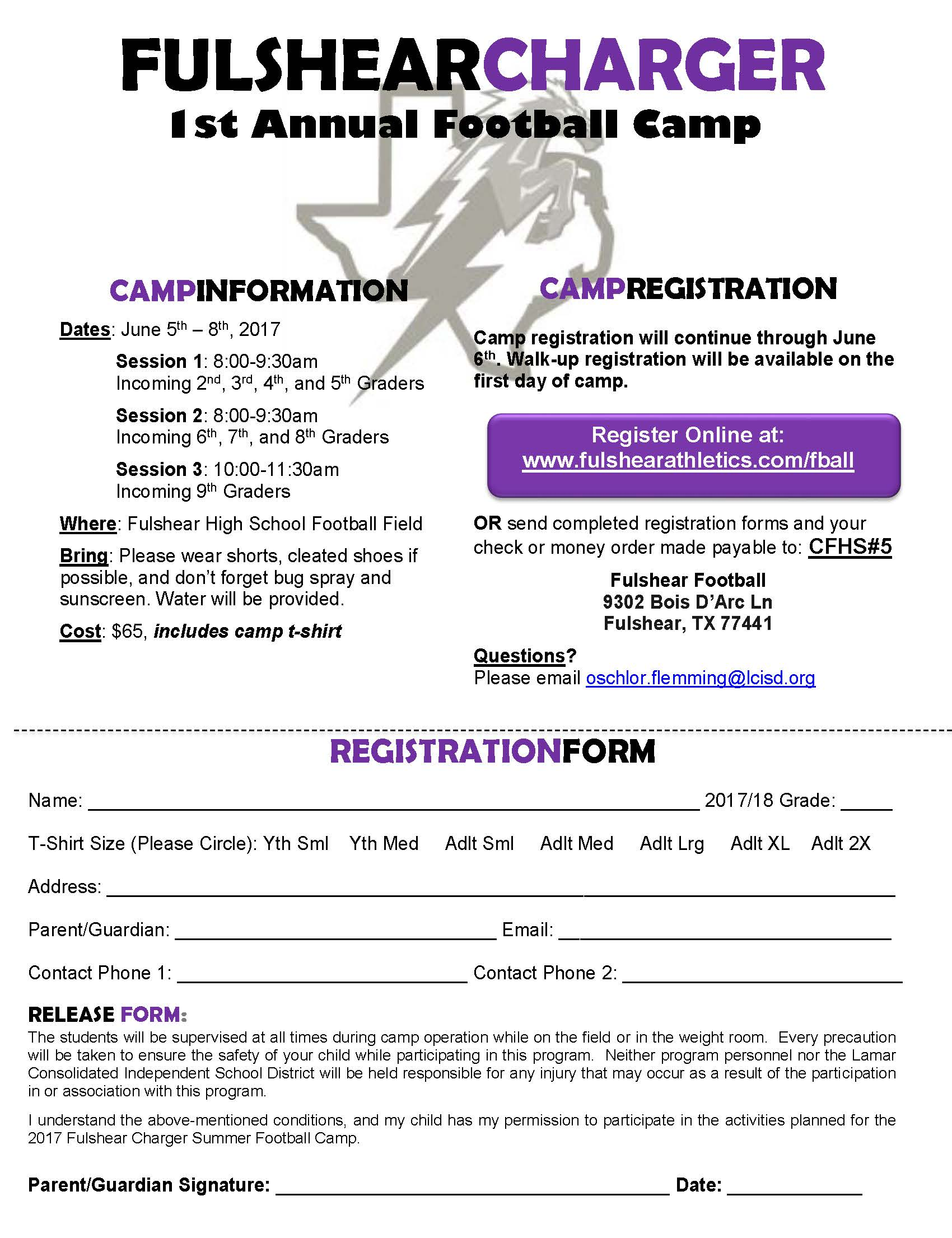 Chager FB Summer Camp Form 2017