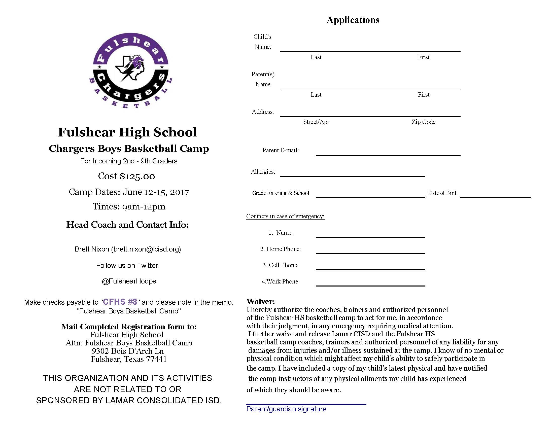 Fulshear Basketball Camp.2017